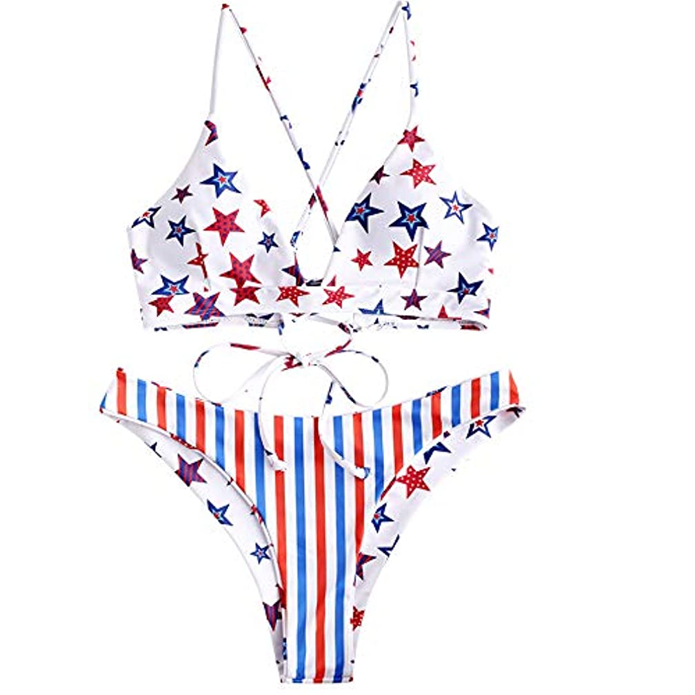 ZAFUL Women's Spaghetti Straps American Flag Two Pieces Reversible Bikini Set