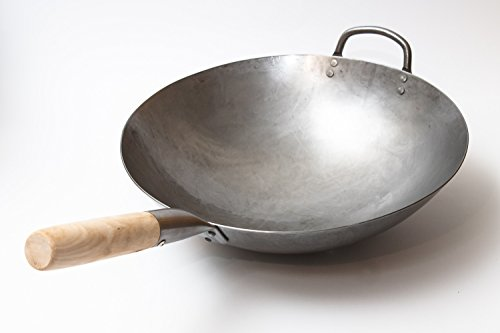 Craft Wok Wok Tradicional de Acero de Carbono Forjado a Mano, con Mango Auxiliar de Madera y Acero (diámetro 35,6 cm, Fondo Redondo)/731W88