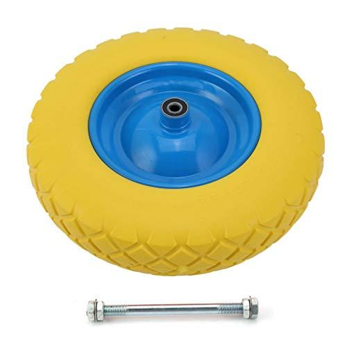 PU Rad Sackkarre 390 mm 4.00-8-PU | 12 mm mit Achse | Sackkarrenrad Vollgummi | Ersatzrad Bollerwagen pannensicher...