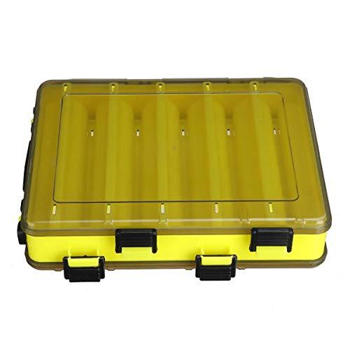 N\A Professionelle Fischen-Werkzeug Fisch-Köder-Box Double Sided Kunststoff Fischköder-Fall-Gerät-Aufbewahrungsbehälter 10/14 Gitter (Farbe : Yellow, Size : L)