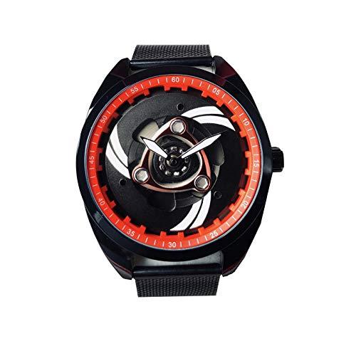 Reloj Giratorio con Motor Knight Locomotive, Reloj de Cuarzo de Acero Inoxidable para Hombre (Black dial 2)