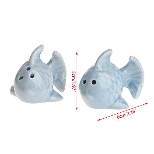 GUMEI 1 par de saleros de cerámica de Pescado, Juego de pimenteros,...