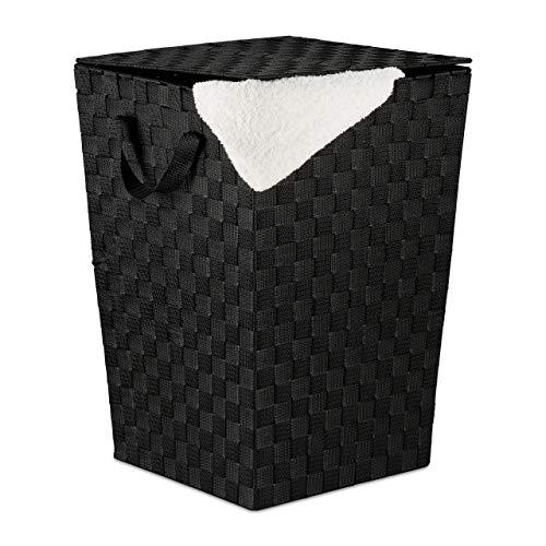 Relaxdays Wäschekorb mit Deckel, 50 l Volumen, Flechtoptik, Kunststoff, Wäschesammler HxBxT: 51 x 35 x 35 cm, schwarz