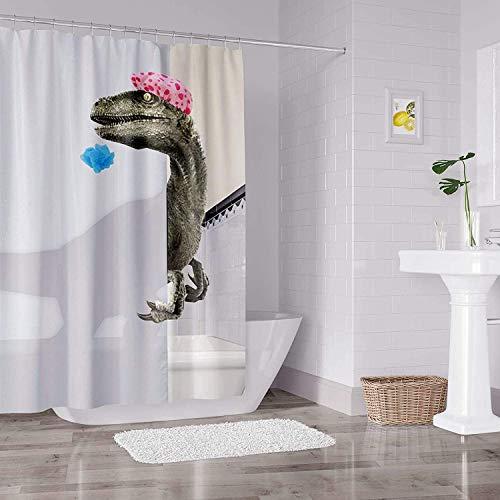 Funny Dinosaur Shower Curtain for Bathroom Curtain with Hooks Cartoon Bathing Dinosaur Raptor Fabric Shower Curtain for Kids Cute Waterproof 78x72inch