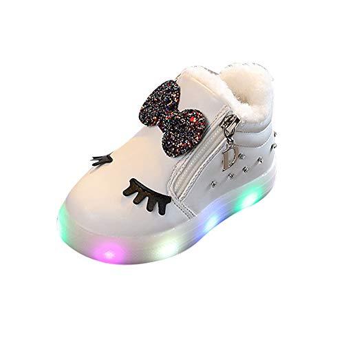 ❤️ Zapatos Bebe niña,Niños Bebés Infantil Crystal Bowknot LED Botas Luminosas Zapatillas Deportivas Zapatillas Absolute