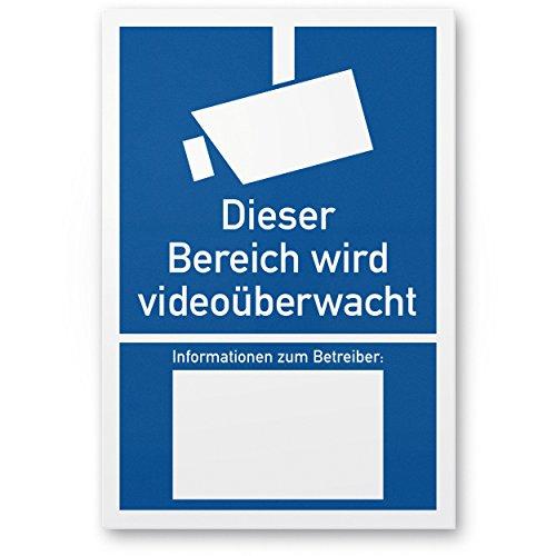 Bereich wird videoüberwacht Kunststoff Schild nach DIN 33450 (20 x 30cm), Warnhinweis, Hinweisschild Videoüberwachung - Informationen Betreiber, Hinweis Videoüberwachung - Datenschutz BDSG/DSGVO