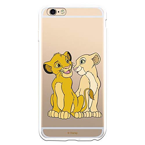 Funda para iPhone 6 Plus - 6S Plus Oficial de El Rey León Simba y Nala Silueta para Proteger tu móvil. Carcasa para Apple de Silicona Flexible con Licencia Oficial de Disney.