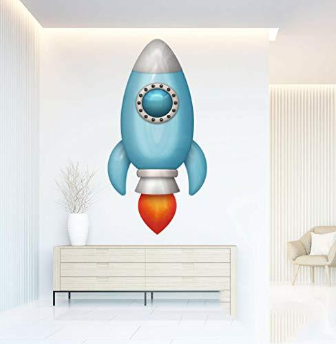 Wandtattoos-3D-Space Rocket Vinyl Wandaufkleber Kinder Schlafzimmer Wohnzimmer Lounge Aufkleber Kunst-50x70cm