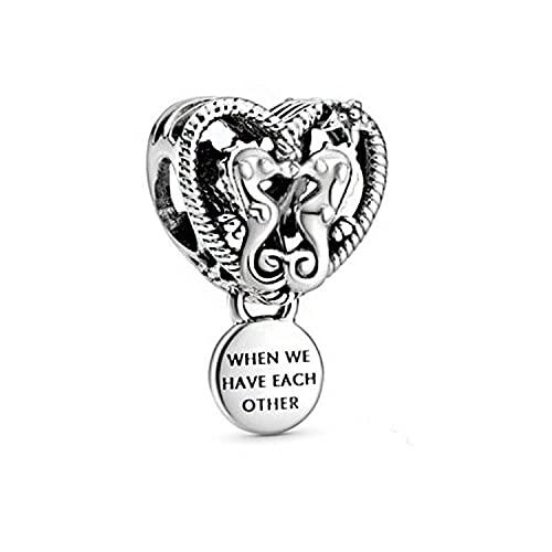 LIJIAN DIY 925 Sterling Jewelry Charm Beads A Hippocampus Make Original Pandora Collares Pulseras Y Tobilleras Regalos para Mujeres