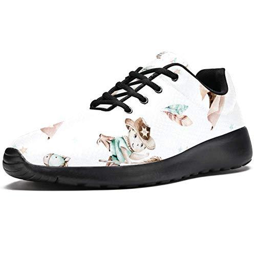 TIZORAX Zapatillas de correr para hombre, vaquero occidental con heno, zapatillas de deporte de malla transpirable para caminar, senderismo, tenis, color Multicolor, talla 40 2/3 EU