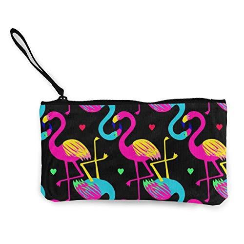 Yuanmeiju Havana Nights Flamingo Canvas Coin Billetera monedero monedero monedero con cremallera