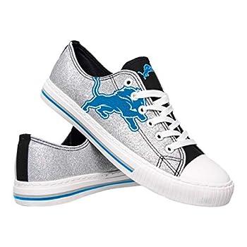 FOCO NFL Detroit Lions Womens Ladies Glitter Low Top Canvas Sneaker Shoesladies Glitter Low Top Canvas Sneaker Shoes Team Color 6/Small