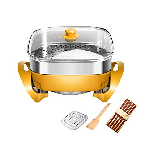 Fondue Hot Pot Elektrische barbecue in moderne stijl van coruPC Hot Pot Hot Pot Pan zonder anti-aanbaklaag Fryer Stew frituren uit één stuk pot. Yellow + Steamer