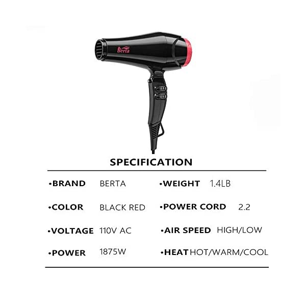 Beauty Shopping Ceramic Ionic Hair Dryer 1875W Powerful Blow Dryer AC Motor Quiet Hairdryer Lightweight