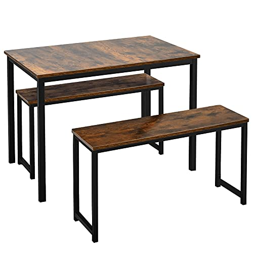 Giantex 3-Piece Dining Table Set with 2 Benches, Kitchen Bench Table Set Wooden Kitchen Table and Chairs for Limited Space (Rustic Brown & Black)