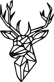 Lasaani Deer ACP Wall Plaque Painted Cutout Stickable Home Decor Wall Art (Glossy Black), WP028