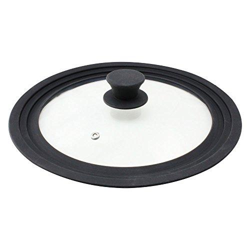 com-four® Protection universelle contre les éclaboussures - Couvercle en verre avec jante en silicone pour casseroles et poêles Ø 24, 26, 28 cm