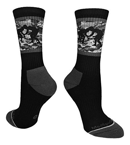 MadSportsStuff Fighting Wrestlers Crew Socks Black/Graphite Camo Small
