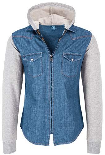Rock Creek Herren Sweat-Jacke Jeanshemd mit Kapuze Denim Jeansjacke für Männer Slim-Fit Langarm Freizeit Hoodie Hemd Jacke H-232 Blau M