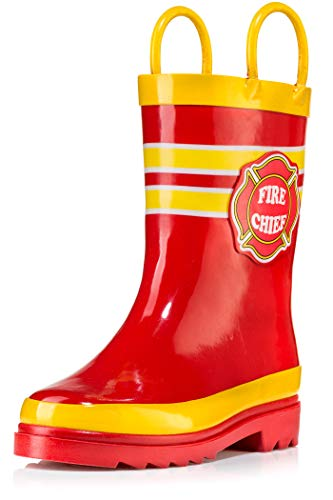 Little Boy's Fire Chief Rain Boots, Size 7-8