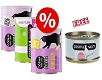 Cosma Snackies XXL Maxi Tube Saver Pack Mixed Pack I (total 490g): 1 maxi tube each of Chicken, Tuna and White Fish Made with 100% all-natural meat or fish they are grain and gluten-free and contain absolutely no additives. The pure chicken, tuna or ...