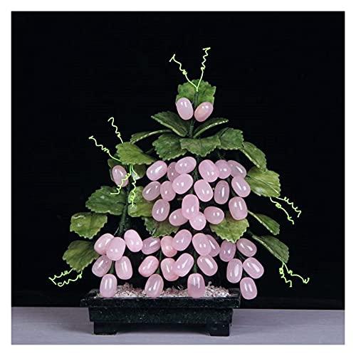Plantas artificiales y vegetación Bonsái creativo tradicional chino Cristal rosa Uva de jade Bonsai artificial para la decoración interior del hogar Decoración de talla de jade Decoración de escritori