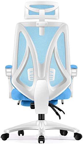 Sillas de Oficina Silla de Oficina con Soporte Trasero, Silla ergonómica de Oficina, Silla de Escritorio de Respaldo Alto y reposabrazos Ajustables (Color : Blue)