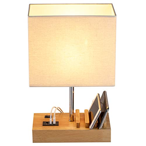 USB Bedside Table Lamp, HHome Plus Desk Lamp with 3 USB Charging Ports and Phone Charge Dock, Wood Charging Station and Organizer, Perfect Light for Bedroom, Guest Room, Living Room, Office