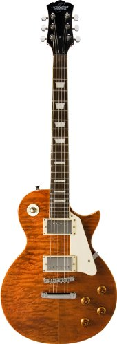 Oscar Schmidt OE20QTE 6-String Solid-Body Electric Guitar, Quilt Tiger Eye