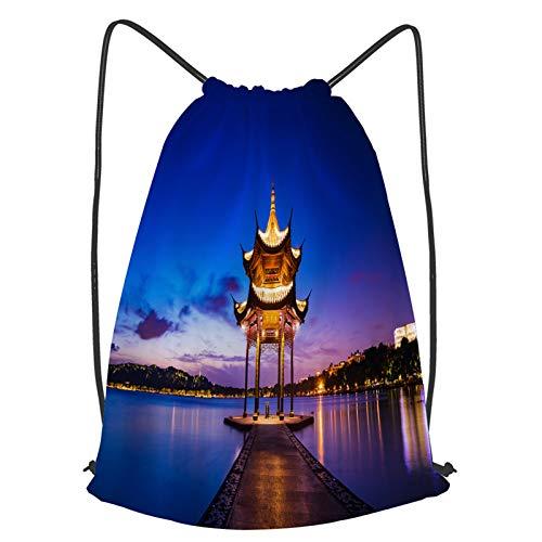 fudin Unisex Wasserdicht Kordelzug Rucksack Jixian Pavillon Hangzhou während Sonnenuntergang Chinesisch Turnbeutel Sporttasche für Yoga Freien Schule Strand Schwimmen