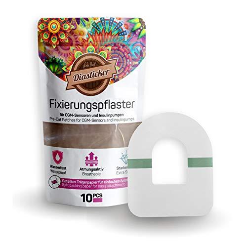 Diasticker®   Omnipod Fixierpflaster XL - Transparent (10 Stück)   Wasserfest - Atmungsaktiv - Starker Halt   Pflaster, Sensor Patch, Fixierung, Tape