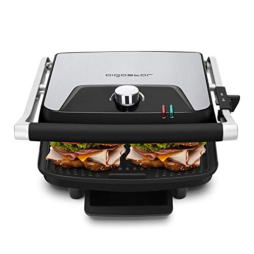 Aigostar Samson 30KLU- Griglia multifunzione per panini maker da 2000W con 2 piani di cottura 29.5 * 23.5cm. Temperatura regolabile fino a 180° e vassoio raccogli briciole estraibile. Color argento