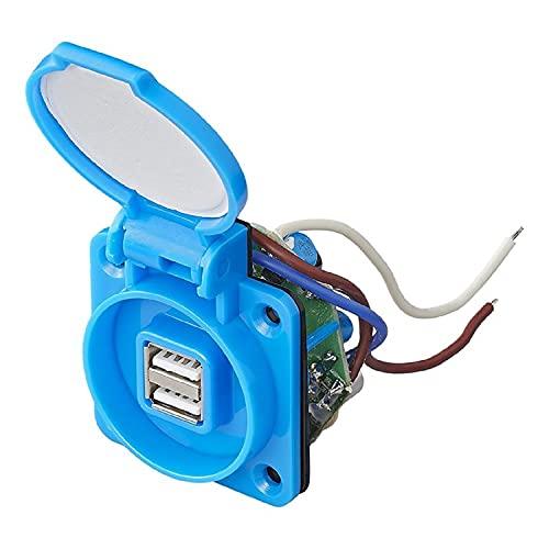 Enchufe empotrable con 2 puertos USB, 12 V, CC, 5 V, 2100 mA, IP55, autocaravana, coche