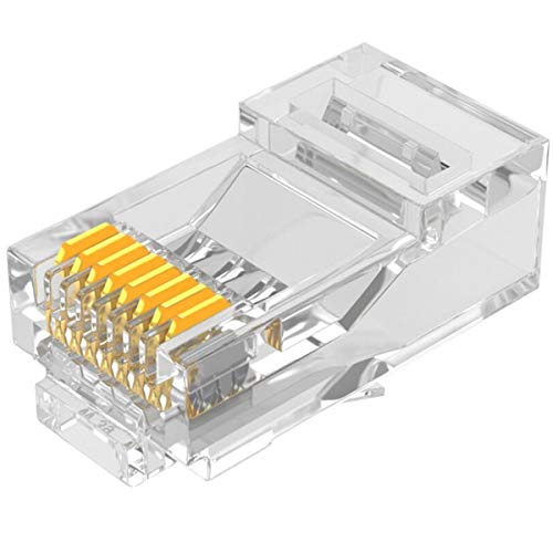 HUANGTAOLI Plug Connettori di Rete Cat5 20 Pezzi, RJ45 Connettore Ethernet Connettore Cavo Ethernet RJ45 LAN 8P8C Placcato in Oro 24K per Cat 5e e Cat 5 Ethernet Network