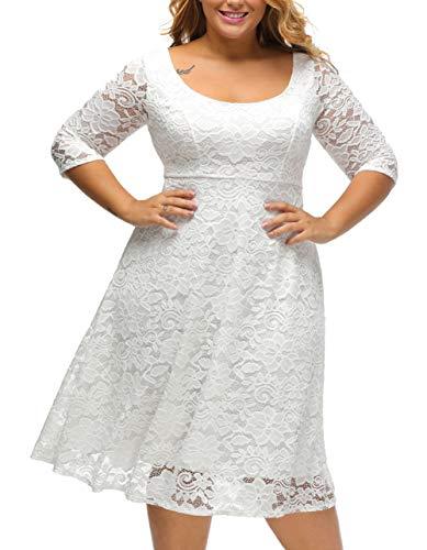 Aleumdr Damen Plus Size Cocktail Kleider Spitze Blumen Partykleid Uboot Ausschnitt V-Rücken Weiß X-Large