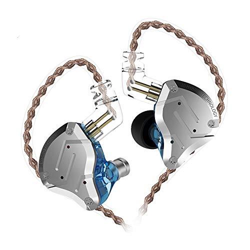 KZ ZS10 Pro Auriculares híbridos 4BA 1DD 4 equilibrados y 1 dinámico 4BA 1DD Auriculares Monitor con Cable de Repuesto de 2 Pines(Azul no mic)