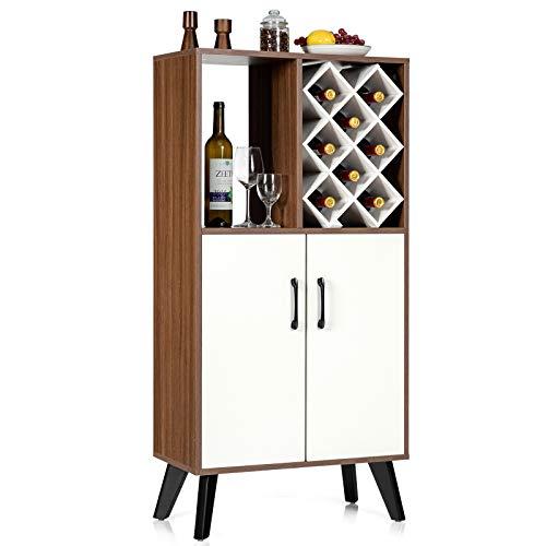 Aparador de Madera con Estantes y Puertas Abiertas, Gabinete con Enfriador de Vino, 8 Estantes para Botellas de Vino, Pueden Usar en Cocina, Comedor, Sala de Estar, Barra de Bar