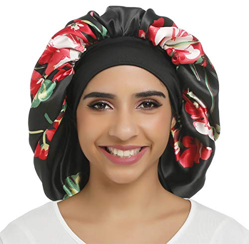 Large Silky Printing Bonnet Satin Sleep Cap Wide Elastic Band for Women Curly Natural Long Hair