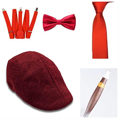thematys Al Capone Mafia Gangster Hut + Fliege + Krawatte + Hosenträger + Zigarre - 20er Jahre Kostüm-Set für Damen & Herren - perfekt für Fasching & Karneval (2)