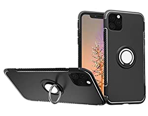 "Kit Me Out World Ring Series Case Designed for iPhone 11 Pro Max Case 6.5"", Scratch-Proof Slim Fit Hard (PC) Back and Black TPU Bumper with 360 Ring Kickstand, Shockproof Case Cover (Black)"
