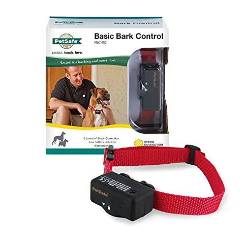 PetSafe Basic Bark Control Collar for Dogs 8 lb. and Up, Anti-Bark Training Device, Waterproof, Static Correction, Canine - Automatic Dog Training Collar to Decrease Barking