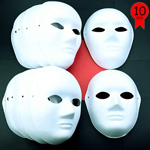 Heatoe 10 Packs White Paper Masks(Men and Women) with 10 pcs Tied Ropes, Blank Full Face Mask, Paintable Paper Mask, Cosplay Masquerade Mask for Party, DIY Creativity and Halloween