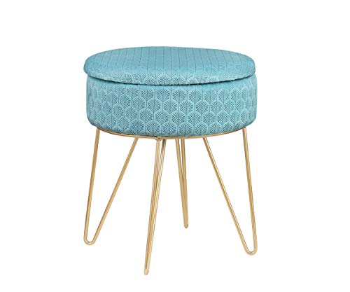 Salbay Velvet Round Footrest Stool Ottoman, Modern Upholstered Vanity Pouffe Stool Storage Function Side Table Seat Dressing Chair for Bedroom Living Room with Golden Metal Leg (Light Blue)