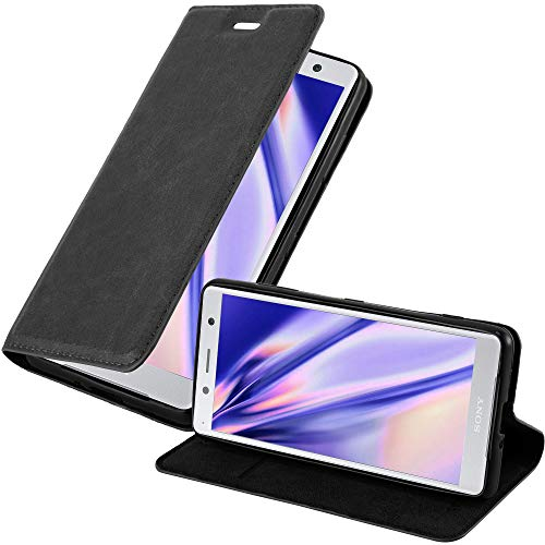 Cadorabo Funda Libro para Sony Xperia XZ2 Compact en Negro Antracita - Cubierta Proteccíon con Cierre Magnético, Tarjetero y Función de Suporte - Etui Case Cover Carcasa