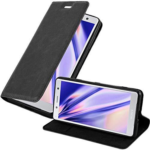 Cadorabo Hülle für Sony Xperia XZ2 COMPACT - Hülle in Nacht SCHWARZ – Handyhülle mit Magnetverschluss, Standfunktion & Kartenfach - Hülle Cover Schutzhülle Etui Tasche Book Klapp Style