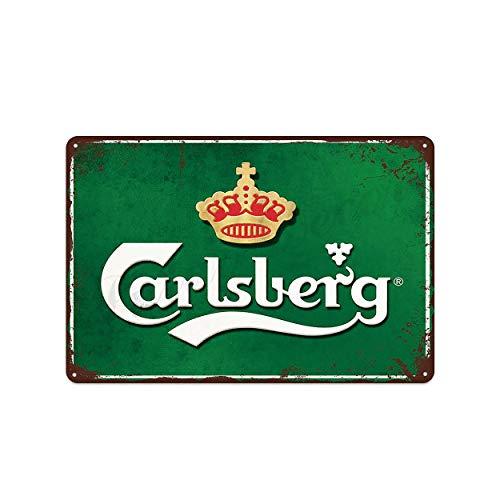 XunYun Carlsberg Beer Carlsberg - Cartel de metal para decoración de bar, cafetería, pub, 20 x 30 cm, diseño vintage, placa de metal