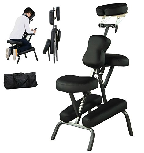 New Portable Best Massage Chair Tattoo Spa PU Leather Pad w/Carry Bag Easy To Move Transport | Black