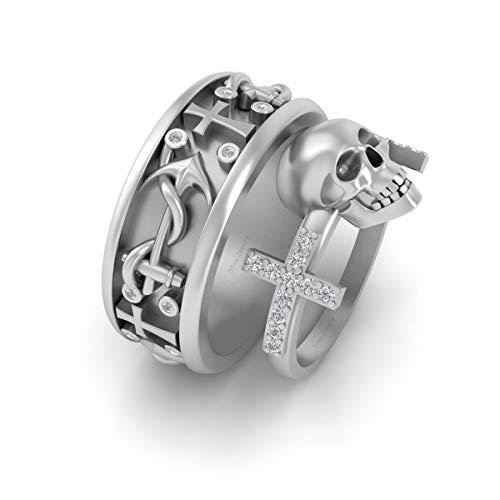 Anillo de compromiso de oro blanco macizo de 10 quilates con diseño de calavera y cruz con ancla y anillo de boda a juego con cruz santa
