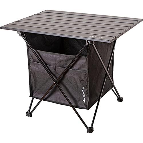 Mesa plegable negra con bolsa de almacenamiento, mesa de jardín, mesa de picnic, ligera, accesorios de camping (grande)