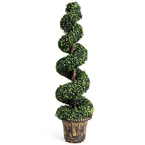 Goplus 4 Ft Artificial Boxwood Spiral Tree, Fake Greenery Plants